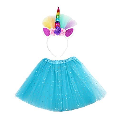 Amosfun 2PCS Little Girls Layered Blue Tutu Röcke mit Einhorn Horn Stirnband Pailletten Ballett Rock für Kind Kind (Little Girl Dress Up Kostüme)