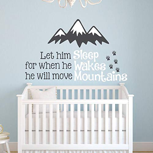 WWYJN Nursery Decor Vinyl Baby Room Wall Stickers Let Him Sleep Quote Wall Decal Kids Baby Room Wall Art Mural Home Decoration  97x57cm (Rolling Gold Ring)