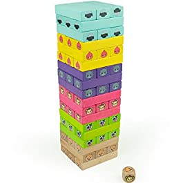 7e5dde2f6c Bimi Boo Giocattolo a Torre rovesciabile in Legno 2 Blocchi Colorati in  Legno per Bambini da