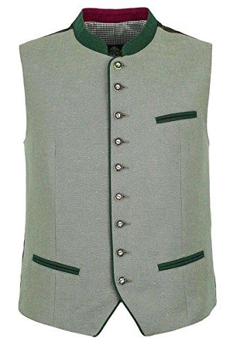 Herren Hammerschmid Trachtenweste Leinen grau grün, Grau, 52