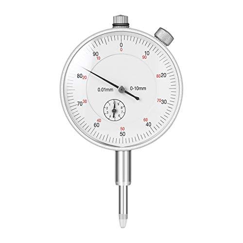 UEETEK Mechanische Messuhr Sondenanzeige Zifferblatt Test Messbereich 0-10mm Dial Test Indicator (Silber) (1 Messuhr)