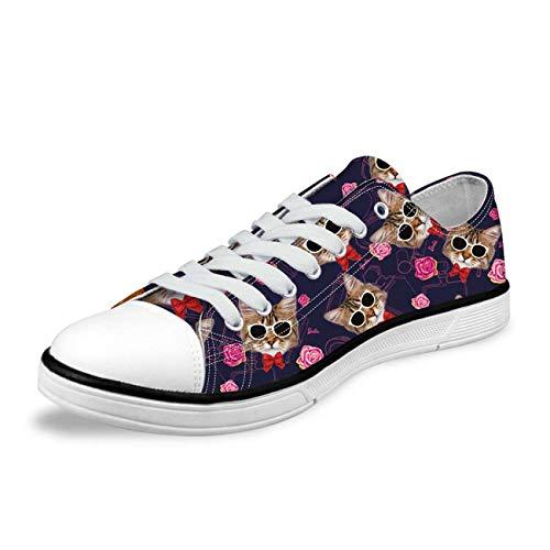 Fashion Canvas Shoes Lace Up Trainers Women Cat Print Sneaker Comfy Walking Pump deep Blue CC1163AP UK 5 Nina Ankle Strap Heels