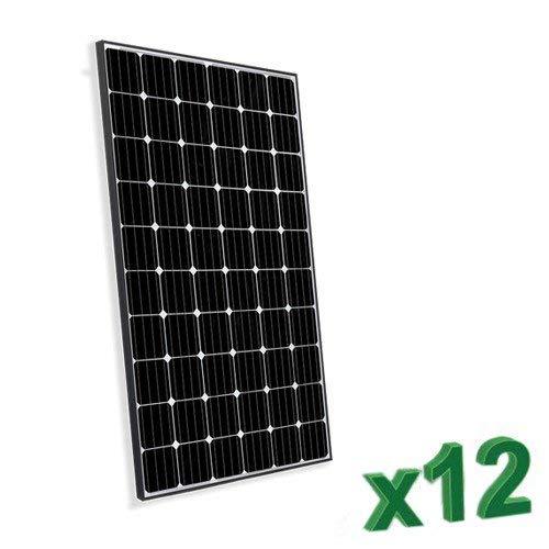 Conjunto de 12 Placa Solar Fotovoltaico300W Total 3600W Monocristalino Placa Solar Fotovoltaico 300Wen silicio monocristalino, ideal para la construcción de sistemas fotovoltaicos se conecta con las redes (Sistemas Fotovoltaicos ON-GRID) y dos foto...