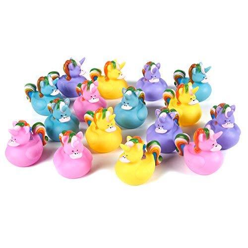 Blue Panda Unicorn Rubber Ducks Set - 16-Count Mini Quietscheentchen Sortiment, Einhorn-Themed Schwimm Baby-Bad-Spielzeug Kinder, Kleinkinder, 4 2,75 X 2,37 X 2 Inches