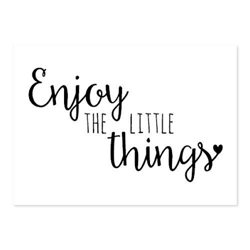 "LITTLE DUTCH 8200 Karte / Postkarte A6 schwarz weiß \""Enjoy the little things\"" (A6: 10.5 x 14.8 cm)\'"