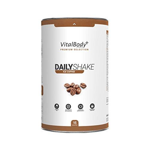 VitalBody+ Dailyshake Proteinpulver, Mahlzeitenersatz zum Abnehmen für Männer&Frauen, 15 Portionen Abnehmshake, zertifizierter Latte Macchiato Eiweißshake als Diät-Shake - Deutsche Premium Qualität