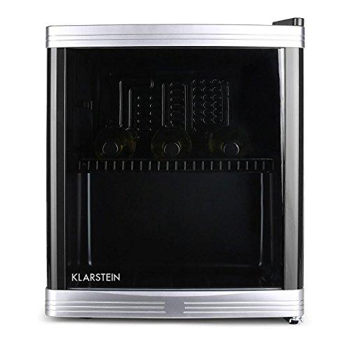 Klarstein • Beerlocker • Minibar • Mini-Kühlschrank • Getränkekühlschrank • B • 46 Liter • 43 x 50 x 48 cm (BxHxT) • flüsterleise im Betrieb • 1 Regaleinschub • wechselbarer Türanschlag • 5-stufiger Temperaturregler • Kapazität: bis zu 15 Flaschen • schwarz