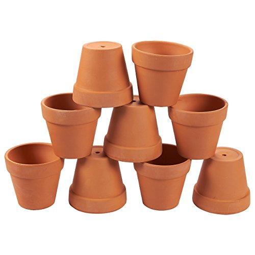 Terrakotta-Töpfe-9er Pack Ton Keramik Anzuchttöpfen, Mini Blumentopf Pflanzgefäße für Innen, Außen Pflanzen, saftige Display, braun-9,2x 8,5cm -
