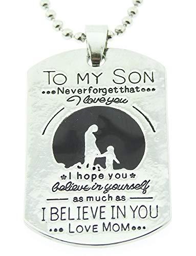 Lovelegis Halskette für Herren und Frauen - Damen Kette - Frauenhalskette - Zu Meinem Sohn - Widmung - to My Son - Nummernschild - Geburt - Silberne Farbe (Mutter Und Sohn Kostüme)