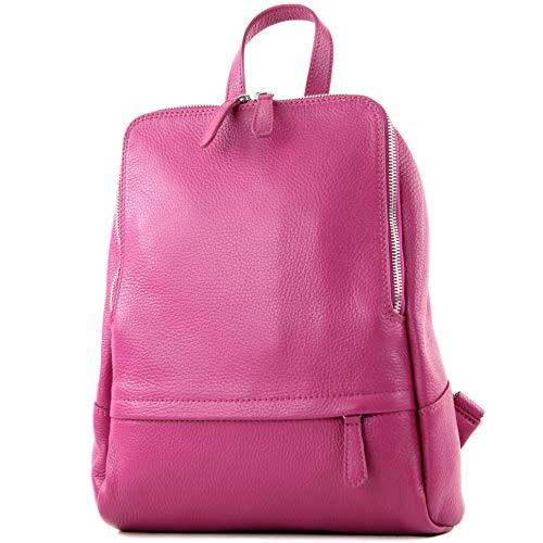 modamoda de - T138 - ital Damen Rucksacktasche aus Leder, Farbe:Magenta