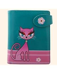 Petit portefeuille Design Diva Kitty en bleu sarcelle foncé