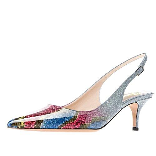 Lutalica Frauen Kitten Heel Spitze Patent Slingback Kleid Pumps Schuhe für Party Patent Mehrfarbig Größe 37 EU