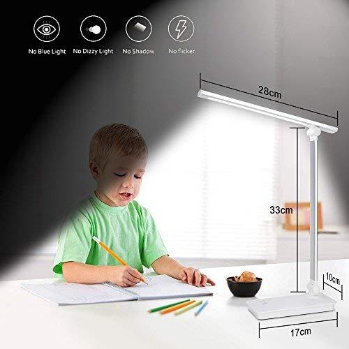 TOPLINK     Lámpara LED de Escritorio con Puerto de Carga USB, Control táctil de Lectura, 3 Modos de Color, 5 Niveles de luz LED Regulable para niños, Estudio, iluminación de Oficina (Plata)