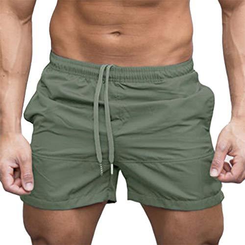 Gym Shorts für Herren, Skxinn Männer Sport Training Bodybuilding Sommer Brief Pants Workout Fitness Gym Kurze Jogging Hosen M-XXL Ausverkauf(Grün,X-Large)