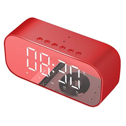 MA87 Drahtloser Bluetooth-Lautsprecher unterstützt Clock Bass Mirror (Rot) -