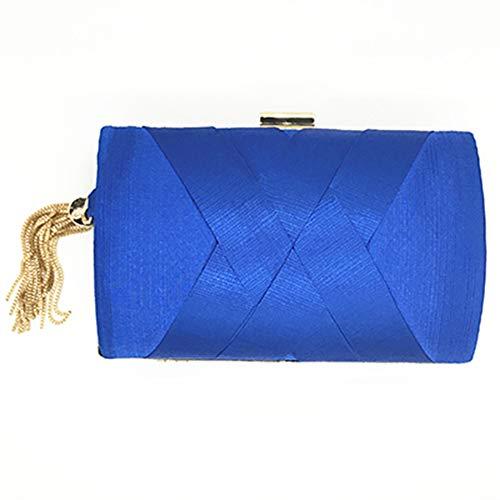 Blaue Seide Shell (ZYXB Abendessen Tasche handgemachte Quaste Anhänger Abendtasche große Kapazität Kleid Tasche aus hochwertiger Seide Clutch Geldbörse Frauen Handtasche Umhängetasche,Blau)