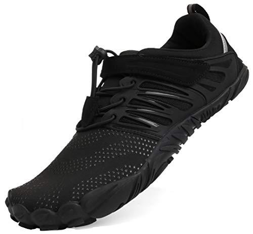 5 Road-running-schuhe (BRONAX Herren Traillaufschuhe Minimalistische Barfußschuhe 5 Five Finger Zehenschuhe Fivefinger Trail Laufschuhe Fitnessschuhe Fitness Workout für Männer Barfussschuhe Schuhe Schwarz 48 EU)