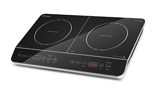 ELLRONA Ergo Touch 3500 mobiles Doppel-Induktionskochfeld, Induktions-Kochplatte doppel, schneller, Kochen mit Induktion ist bis zu 50{764e4da59dff96c8bc79d7ee13473378883587221b4247688d27d87ce9b0c4de} energiesparender und sicherer als mit einem normalen Kochfeld, so schnell wie Gas, 3500 Watt, Sensor-Touch Bedienung