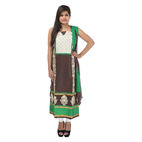 Kashish Creations Women Zari Green & Black Semi Stitched Salwar Suit