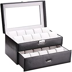 ROWLING Uhrenbox Uhrenkoffer Schaukasten Uhrenkasten Uhrenvitrine für 20 Uhren 2 Fächer Schwarz BG033BK