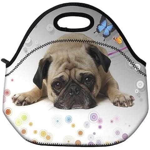 Bolsa para almuerzo con aislamiento de perro de neopreno bolsa para Go Gourmet con cremallera y asas (diseño de perro) diseño de