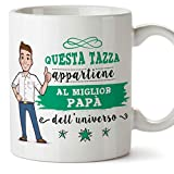 Mugffins papà Tazza/Mug - Questa Tazza Appartiene al Miglior papà dell'Universo - Idee Regali Festa del papà/Buon Compleanno/Tazze Originali di caffè. Ceramica 350 mL