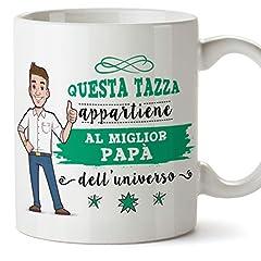 Idea Regalo - Mugffins papà Tazze Originali di caffè e Colazione da Regalare Papa - Questa Tazza appartiene al miglior papà dell'Universo - Ceramica 350 ml