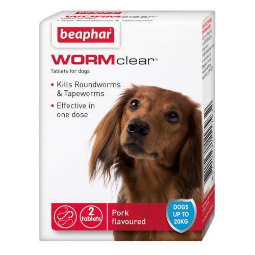 SIPW Vet Strength WORMclear Dog Puppy Worming Wormer Tablets kills Roundworm Tapeworm (2 Tablets)