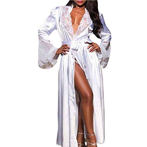 Damen Sommer Bademantel FORH Nachtkleid Dessous Set Lange Ärmel Spitze Erotik Lingerie Offen Negligee Babydoll Kleid Gown Seide Kimono Sexy Morgenmantel (S, Weiß B) Kimono-kleid-set