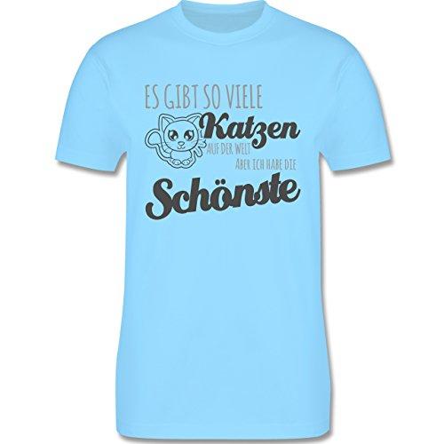 Shirtracer Katzen - Schönste Katze - Herren T-Shirt Rundhals Hellblau