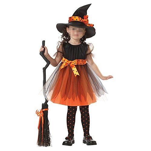Beunique® Mädchen Kinder Hexe Kostüm Zubehör Fairy Halloween Cosplay Partei Abendkleid Halloween Kostüm schwarz orange (3-11 Jahre (Kostüme Mädchen Für 11 Halloween Jährigen)