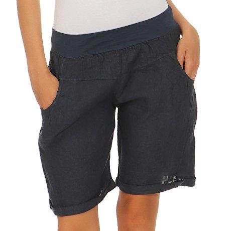 Mississhop 276 Damen Leinenshorts Bermuda lockere Kurze Hose Freizeithose 100% Leinen Shorts Elegante Haremshose mit Knöpfen Sommer Strand Dunkelblau XXL - Strand Bermuda Shorts