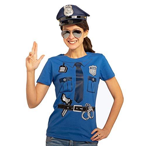 Polizeikostüm Uniform Verkleidung Karneval Set Shirt und Mütze Frauen T-Shirt Slim Fit Small Blau