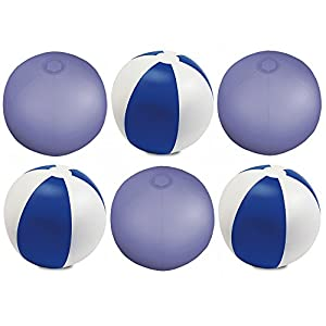 eBuyGB - Pack de 12 Bolas de Colores inflables para Playa o Piscina, Color Azul Transparente, 22 cm