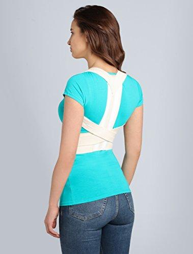 Modisch und hilfreich - Körperhaltung-Korrektor von BeFit24 für den oberen und mittleren Rücken von Damen und Herren – mit smarten Metalleinsätzen für eine zusätzliche Stabilisierung - Size 3 - Creme