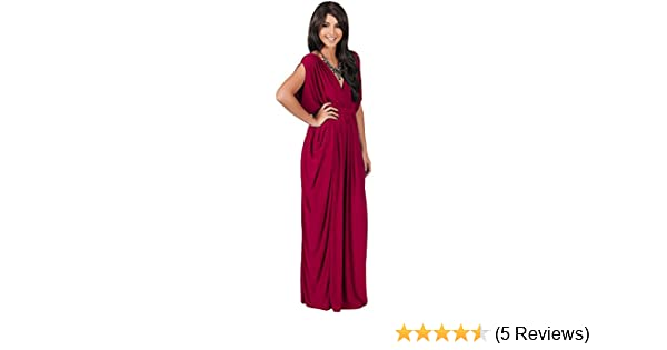 1ec62f61e60 Koh Koh Petite Womens Long V-Neck Summer Grecian Greek Bridesmaid Wedding  Party Guest Flowy Formal Evening Slimming Vintage Maternity Gown Gowns Maxi  Dress ...