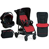 Hauck Rapid 4 Plus Shop-n-Drive Set Quick Fold Travel System, from Birth to 22 Kg, Black/Red (Group 0+ Car Seat, Compatible with Optional ISOFix Base, Foot Muff, Changing Bag and Raincover)