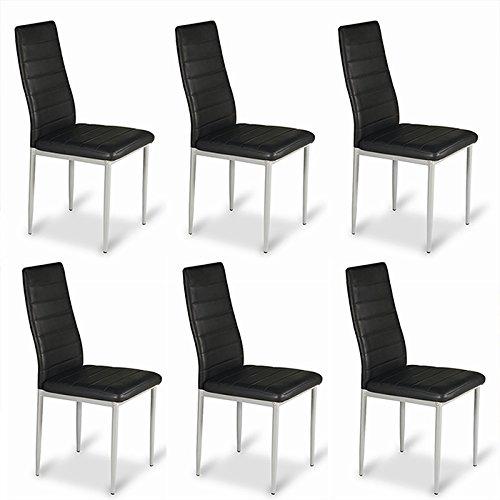 Designetsamaison Lot de 6 chaises Salle à Manger Noires - Lena