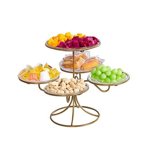16LYP Mehrschichtige Obstschale Korb Mode Schmiedeeisen Obst Rack-Startseite Wohnzimmer Snackschale Multifunktions-Display Stand (Color : Brass) -