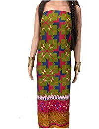 Kurti Material Blouse Fabric Pure Cotton colour fast, geometry print, mehendi green multicolour panel