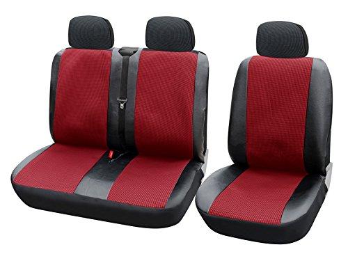 WOLTU AS7324 Universal Auto Sitzbezüge für Transporter, 1+2 Sitzbezug Schonbezüge aus Polyester & Kunstleder Schwarz-Rot