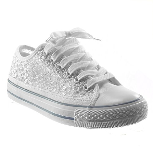 Angkorly Damen Schuhe Sneaker - Spitze - Glitzer Flache Ferse 2 cm - Weiß BL130 T 39