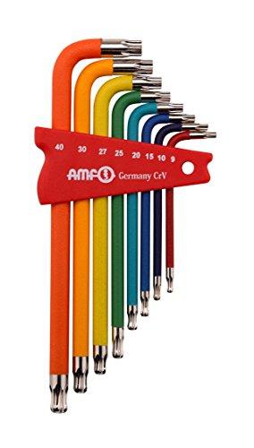 TORX-Kugelkopfschraubendreher (Schlüsselhalter), extra lang, Farbcodierung nach Schlüsselweite - 8-tlg. - 918-HT8F-48918