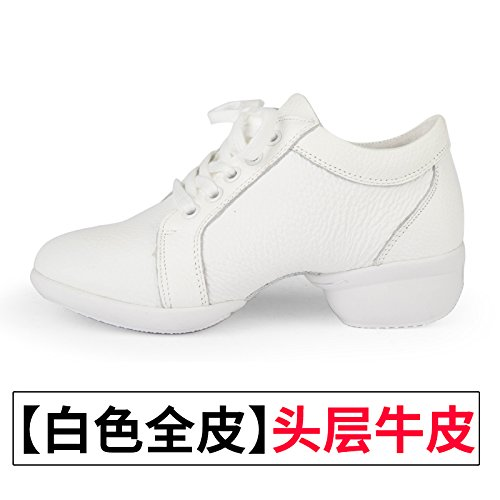 Wuyulunbi@ Scarpe da ballo scarpe da ballo con morbide scarpe di fondo Tutto bianco pelle