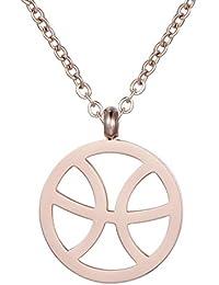 efc67fe562d0 Morella Collar Acero Inoxidable Oro Rosa con Colgante Signo del Zodiaco en  Bolsa de Terciopelo