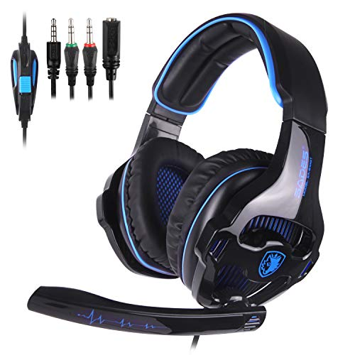 2018 Novità SADES SA810 Cuffie da gioco Cuffie stereo over ear Cuffie da gioco bass con isolamento acustico Microfono Controllo volume per Xbox One PS4 PC Laptop Mac Mobile(supporto non incluso)