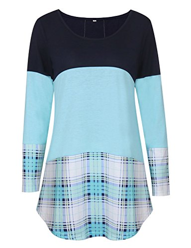 Tooklanet Damen Langarm Shirt Oberteile Streifen Lace Loose Pullover Lang Sleeve Lässig Tops Bluse Blau