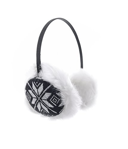 Ohrenwärmer Ohrenschützer Kunstpelz Norwegermuster Einheitsgröße Schwarz Weiß