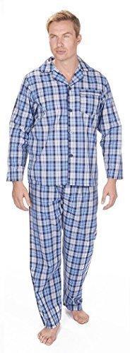 Herren gestreift / kariert gewoben Polycotton Frühling Sommer Pyjama Set Nachtwäsche, langärmlig geknöpft Nachthemd & Hose blau groß kariert mit lounge-socken