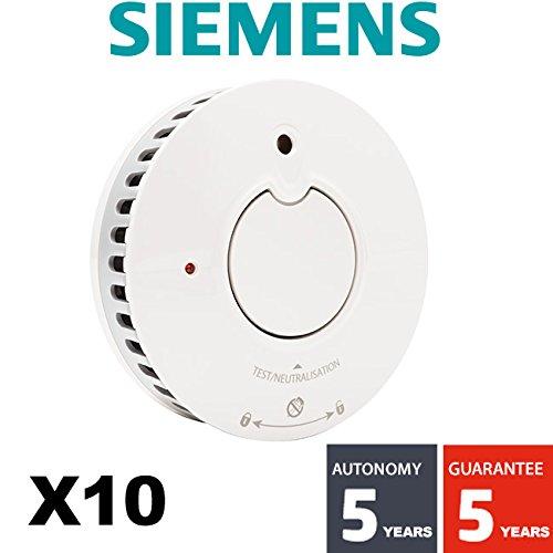 siemens - Lot de 10 détecteurs de fumée NF Autonomie et Garantie 5 ans Delta Reflex 5TC1292-1